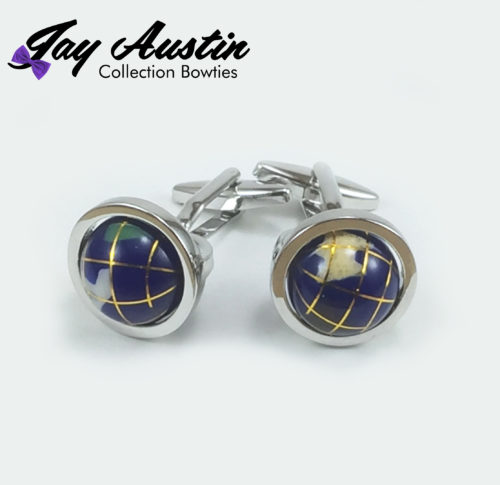 Globe Cufflinks Sliver Plated